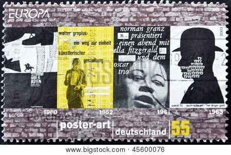 A stamp printed in Germany dedicated to poster art