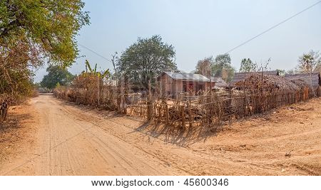 Panorama of small typical village in Bagan