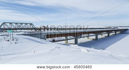 New Bridge Construction In Winter