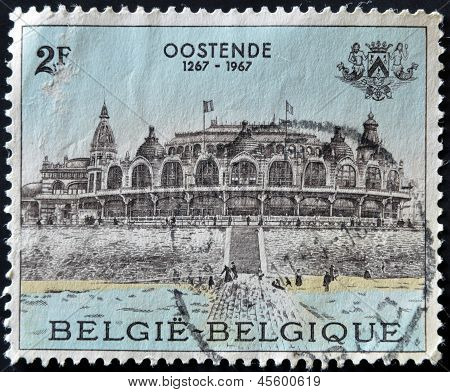 BELGIUM - CIRCA 1967: A stamp printed in Belgium shows palace in Ostend circa 1967