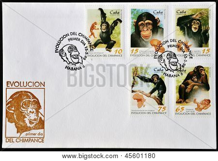 CUBA - CIRCA 1998: A postcard printed in Cuba dedicated to evolution of the chimp circa 1998