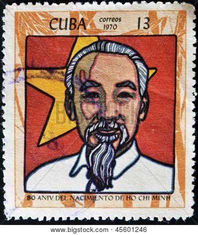 CUBA - CIRCA 1970: A stamp printed in Cuba shows Ho Chi Minh circa 1970