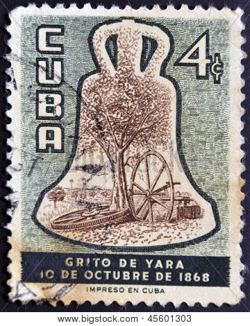 A stamp dedicated to cry of Yara the beginning of the independence of Cuba with regard to Spain