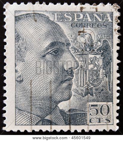 SPAIN - CIRCA 1940: stamp printed by Spain shows Francisco Franco circa 1940