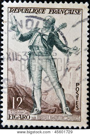 stamp printed in France shows image of Figaro the literary character created by Moliere