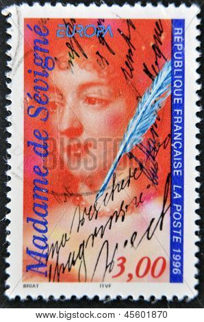 FRANCE - CIRCA 1996: A stamp printed in France shows Madame de Sevigne circa 1996