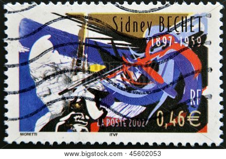 A stamp printed in France shows Sidney Bechet