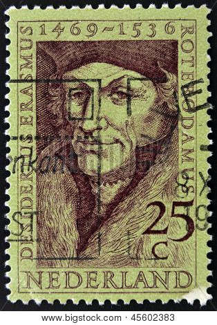 Holland - CIRCA 1990: A stamp printed in the Netherlands shows Erasmus of Rotterdam circa 1990
