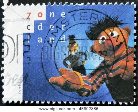 HOLLAND - CIRCA 1996: A stamp printed in Netherlands shows Bert and Ernie circa 1996