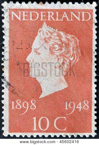 Holland - Circa 1948: A Stamp Printed In Netherlands Shows Queen Wilhelmina, Circa 1948