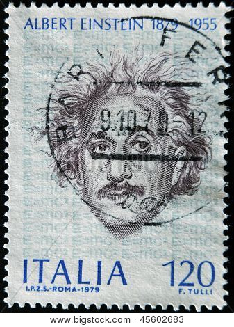 A stamp printed in Italy shows Albert Einstein