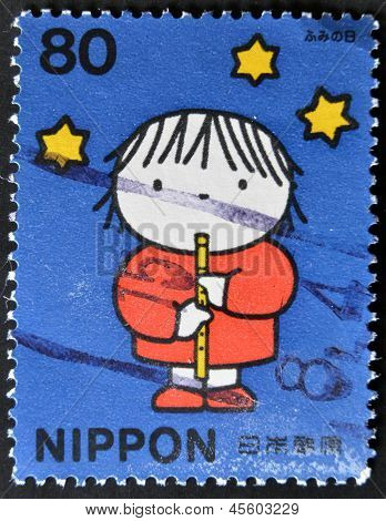 JAPAN - CIRCA 2001: A stamp printed in Japan shows a picture of boy by Dick Bruna circa 2001