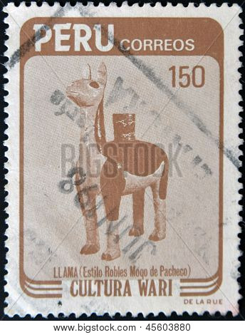 A stamp printed in Peru dedicated to Wari culture shows Llama (Style Moqo Robles Pacheco)