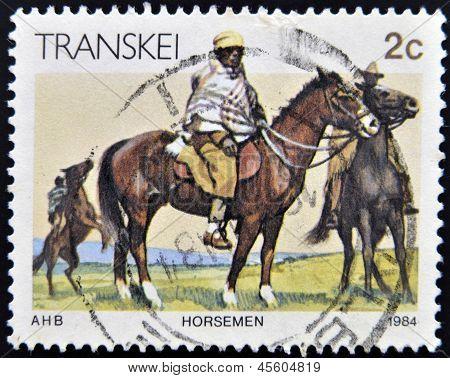REPUBLIC OF SOUTH AFRICA - CIRCA 1984: A stamp printed in Transkei shows horseman circa 1984