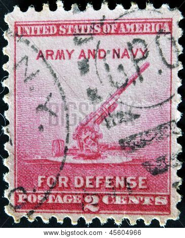 a stamp printed in the United States of America shows 90-millimeter Anti-aircraft Gun