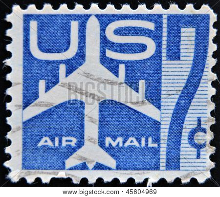 UNITED STATES OF AMERICA - CIRCA 1958: stamp printed in USA shows Silhouette of Jet Airliner