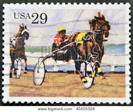 UNITED STATES OF AMERICA - CIRCA 1993: A stamp printed in USA shows Harness racing circa 1993