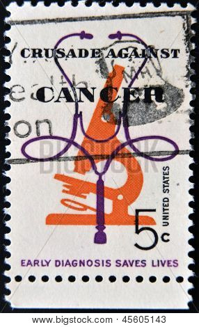 stamp pritned in USA dedicated to the awareness of cancer