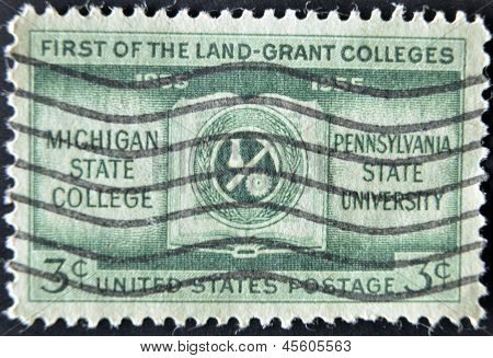USA - CIRCA 1955 : A stamp printed in the USA shows First Land Grant Colleges circa 1955