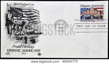A stamp printed in USA dedicated to Hispanic Americans a proud heritage