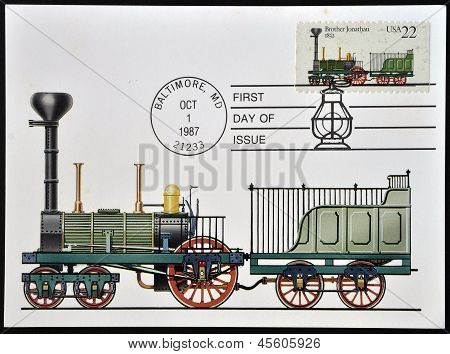 A stamp printed in USA shows image the Locomotive Brothers Jonathan