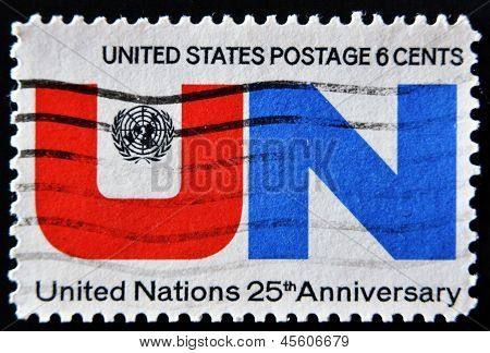 A Stamp Printed By United States Of America, Shows Emblem United Nations UN