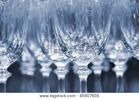 Rows of empty wine glasses
