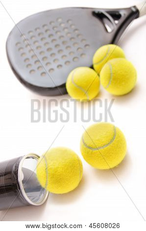 Paddle Tennis Objects Over White