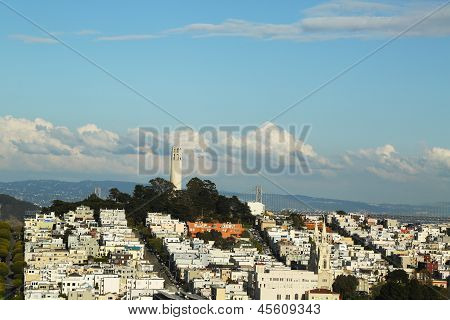 Areal view of Coit Tower and streets of San Francisco