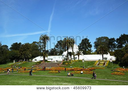 The Conservatory of Flowers building at the Golden Gate Park in San Francisco