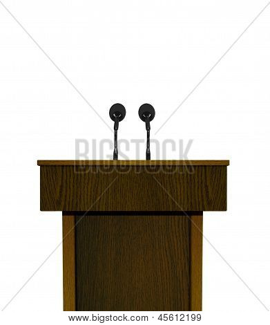 Podium and microphones