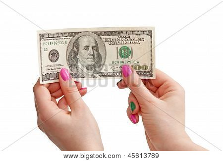 Woman's Hand Holding 100 Us Dollar Banknote, Isolated On White Background
