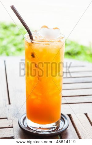 Fresh Pressed Tangerine Orange Juice With Iced