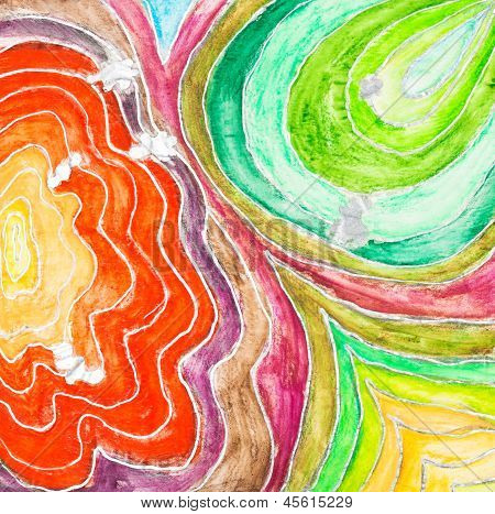 Wave Pattern Drawn By Watercolor Paints