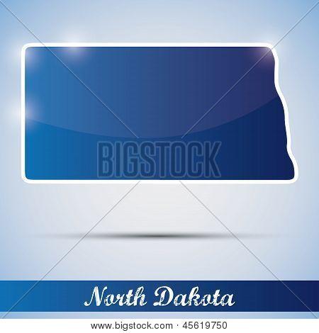 shiny icon in form of North Dakota state, USA