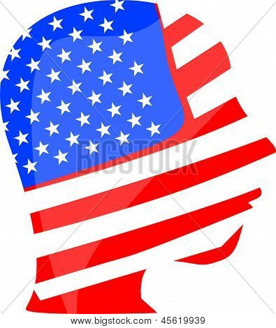 People Head And Face Is Painted In Colors Of Usa American Flag