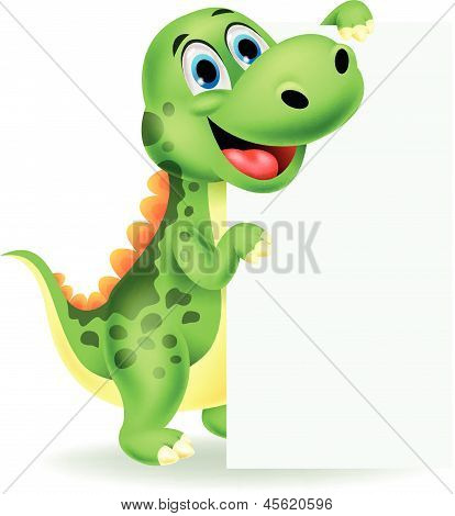 Cute dinosaur cartoon with blank sign