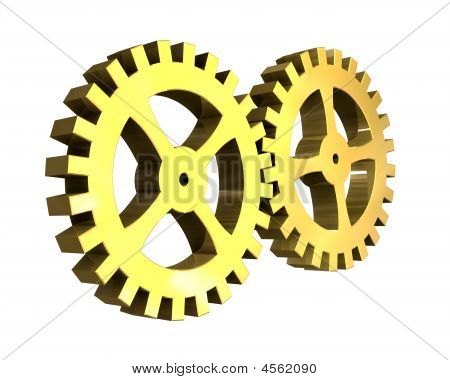 Two Gears In Gold - 3D Made