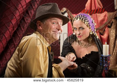 Palm Reader With Happy Man