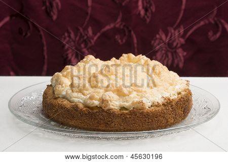 Meringue Cake On Glas Plate