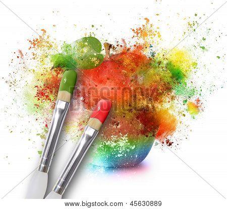 Paint Splatters On Rainbow Apple