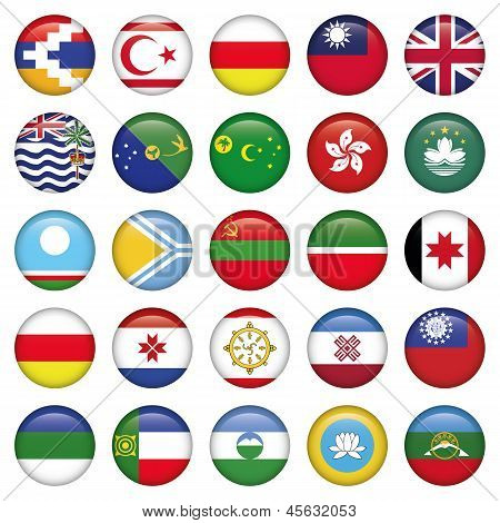 Asia Round Flag set of 25 asian web icons or buttons