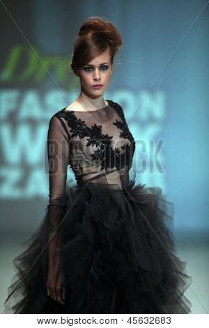 ZAGREB, CROATIA - May 11: Fashion model wears clothes made by Ivancica Hrustic on