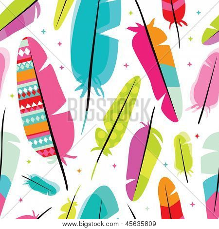Seamless colorful retro bird isolated on white feather background pattern in vector