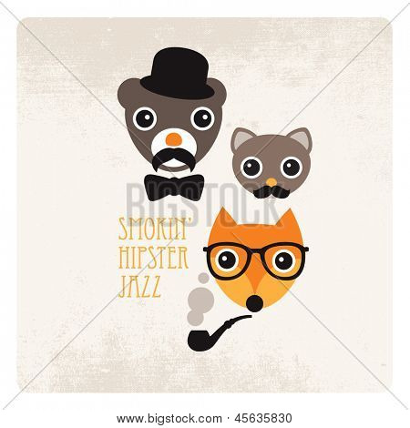 Trendy hipster animals smoking jazz mustache illustration with vintage paper background