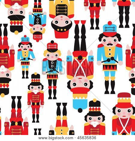 Seamless tin soldiers and nutcracker vintage toys illustration background pattern in vector
