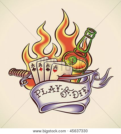 Vintage tattoo design with aces, dagger, rum, flame and banner. Editable vector illustration.