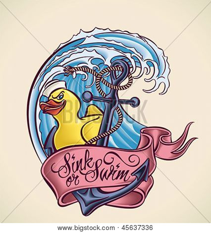 Vintage tattoo design with anchor, bath duck, banner and wave. Editable vector illustration.