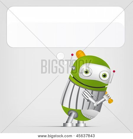 Cartoon Character Cute Robot Isolated on Grey Gradient Background. Golf. Vector EPS 10.