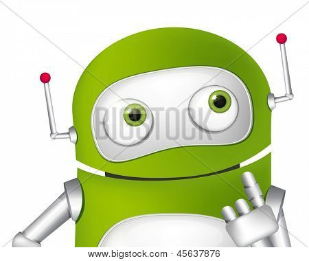 Cartoon Character Cute Robot. Vector EPS 10.